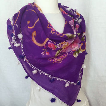 Turkish Purple Floral Scarf Violet Cotton Scarf  Elegant Spring Shawl Floral Motifs  Mother's Day Gift Idea For Woman