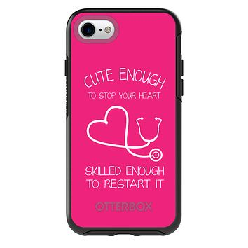 DistinctInk™ OtterBox Symmetry Series Case for Apple iPhone / Samsung Galaxy / Google Pixel - Hot Pink Nurse Stethoscope Heart