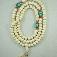 Yak Bone Mala 108 Beads Prayer Necklace with Turquoise Nuggets
