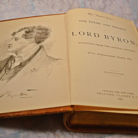 1884 Lord Byron's Poems, Antique Book Of Poetry, Leather Bound Book
