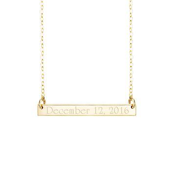 Date Bar Necklace Large            Vertical & Horizontal