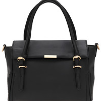 Black Buckle PU Shoulder Bag -SheIn(Sheinside)
