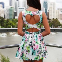Floral Print Sleeveless Dress with Heart Cutout Back