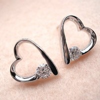 Zirconium Crystal Heart Earrings Declared Love Jewelry for Girls