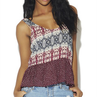 Mixed Print Babydoll Tank | Wet Seal