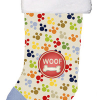 Woof Pawprints Dog Christmas Stocking SB3156-CS