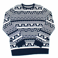 Navy Blue Triangle Print Sweater Mens Size Large - Default Title