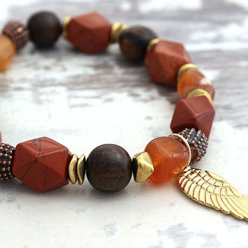 Cyber Monday Red Jasper Bracelet, Black Friday Sale Carnelian Red Jasper Angel Wing Bracelet Angel Jewelry Carnelian Bracelet Gift for Woman