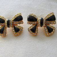 JOAN RIVERS Rhinestone Bow Earrings