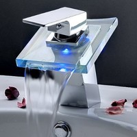 E-joy Modern Single Handle Waterfall LED Faucet - Lavatory Vessel Bathroom Sink Tap Color Changing Temperature Sensitive