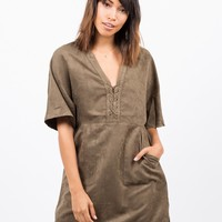Suede Lace Up T-Shirt Dress