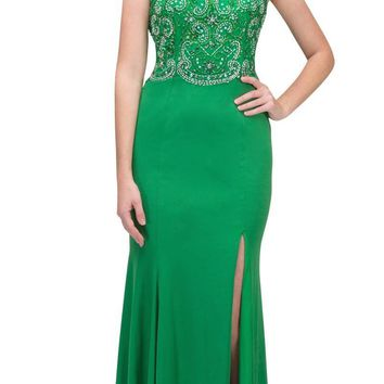 Green Beaded Bodice ITY Long Prom Dress with Slit