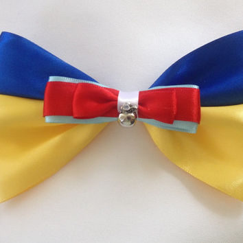 Snow White Blue and Yellow Princess Bow, Wishing For the One I Love by Design Bowtique