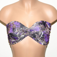PADDED Purple Camo Bandeau Top, Swimwear Bikini Top, Twisted Top Bathing Suits, Spandex Bandeau Bikini