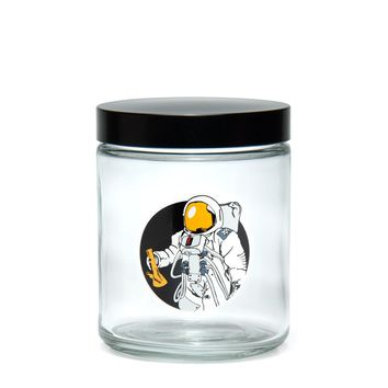 Large Clear Screw-Top - Space Man