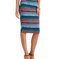 Tribal Print Bodycon Midi Skirt by Charlotte Russe - Blue Combo