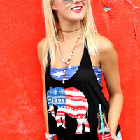 American Flag Elephant Black Crop Top