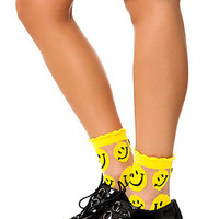 MKL Accessories Sock See Through Smile in Yellow