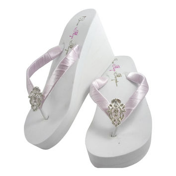 Lavender Bridal Flip Flops-Bridesmaid Flip Flops, satin/any color-lace embellishment-wedges flats- rhinestone wedding ivory white platform