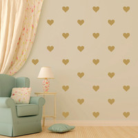 HEARTS- 30 wall vinyl decal stickers cute room decor - 4 inches tall - Free Shipping