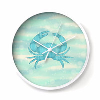 Blue Crab Nautical Wall Clock