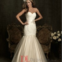 Lace Sweetheart Mermaid Sleeveless Wedding Dress with Chapel Train AB8920