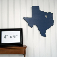 "Dallas Cowboys  ""State Heart"" wall art, handcrafted wood with official team colors"