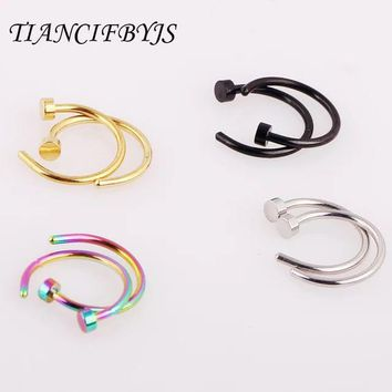 TIANCIFBYJS 2pcs Body Nose Ring Fake Piercing Jewelry Women Nostril Septum Nose Hoop Stainless Steel Clip Tragus Cartilage Ear