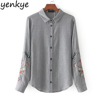 Women Floral Embroider Blouses Long Sleeve Collar Autumn Casual Plaid Blouse Shirt