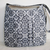 Gray Pleated Bag, Cross Body Bag, Stylish Pleated Tote, Gray and Silver Kaleidoscope Print