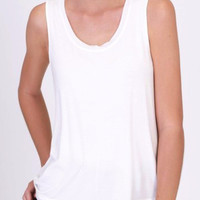 Stone Wash Tank in Off White