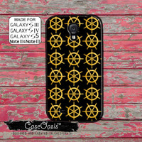 Gold Boat Steering Wheel Pattern Tumblr Inspired Ship Hull Custom Galaxy S5 and S4 and S3 Case and Galaxy Note 2 and Note 3 Case