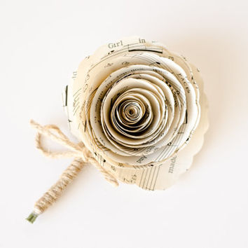 Rose Boutonniere made from Sheet Music or Book Pages - IN YOUR COLORS - Paper Wedding Flowers for Groom, Groomsmen, Ushers, Wedding Party