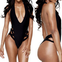Women Sexy One-Piece Swimwear High Cut Out Monokini Backless Swimsuit Bikini Deep V Neck Bathing Suit beach wear maillot de bain -0401
