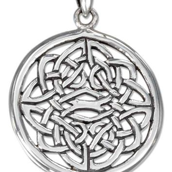 Sterling Silver Charm:  Round Filigree Celtic Knot Pendant