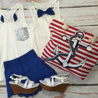 Sequin Bow Back Tank: Blue