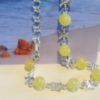100% Natural Baltic #Amber #Vintage #Bracelet  Sterling #Silver 925 gr, 8 #round beads opaque yellow egg yolk for adult medical healing
