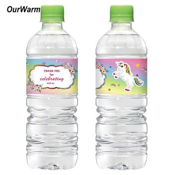 OurWarm 48pcs New Unicorn Water Bottle Label Happy Birthday Candy Bar Kids Birthday Party Supplies Baby Shower Party Decoration
