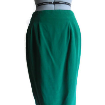 Vintage Diane Von Furstenberg Kelly Green Silk Pencil Skirt 1980s 1990s Large Size 10