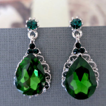 Emerald Earrings Drop, Green Bridal Earrings, Emerald Wedding Jewelry, Green Crystal Earrings,