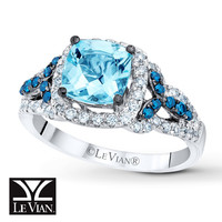 LeVian Aquamarine Ring 1/2 ct tw Diamonds 14K Vanilla Gold