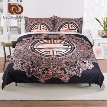 BeddingOutlet Mandala Flowers with Chinese Blessing Duvet Cover Set With Pillowcase Dark Blue Bedding Set Vintage Quilt Cover