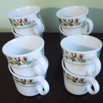 Coffee Cup Mugs, Set of 4 Cups, Vintage Noritake Progression Homecoming Mugs, Fruit and Bird Cups, Ceramic Glass Tea Cups, Made in Japan
