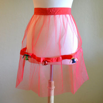 Vintage Christmas Apron with Jingle Bells, Red Tulle Half Apron, Hostess or Party Apron, circa 1960s, Very Festive!