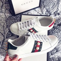 Gucci Woman Fashion Pearl Flats Shoes Sneakers Sport Shoes G-AA-SDDSL-KHZHXMKH