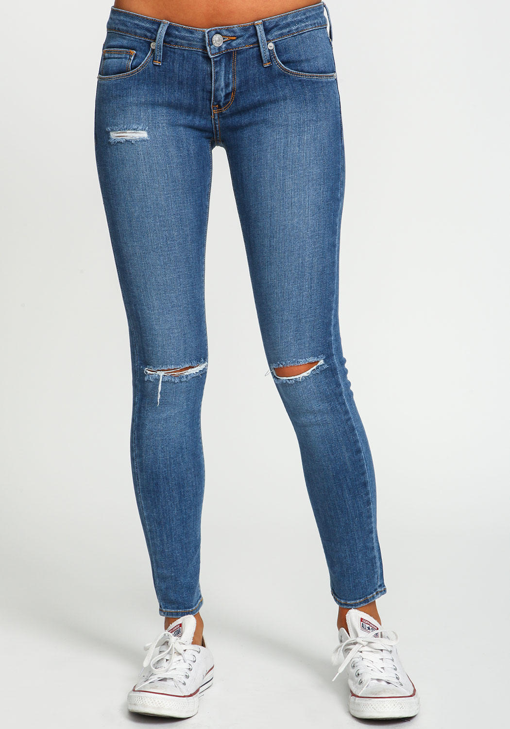 Blue Wash Slit Skinny Jeans From Love Culture