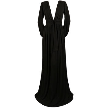 1970's YVES SAINT LAURENT long black jersey gown with matching sash