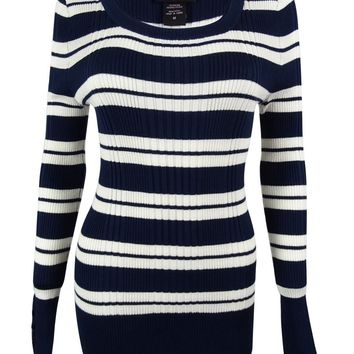Hooked Up by IOT Juniors' Striped Rib Knit Sweater