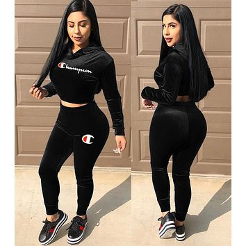 Champion Autumn Winter Fashion Woman Casual Long Sleeve Pants Set Two Piece Sportswear Black