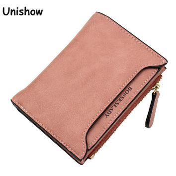 Soild matte pu leather women wallet small printing letter female purse zipper coin wallet multifunction women card holders